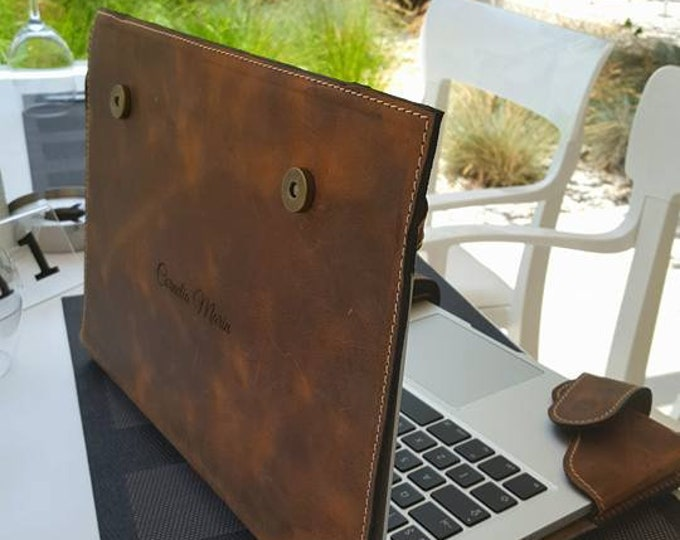 15 inches Laptop Sleeve, Handmade Padded Chestnut Laptop Leather padded bag, Laptop tote bag, iPad leather sleeve, Leather Laptop case