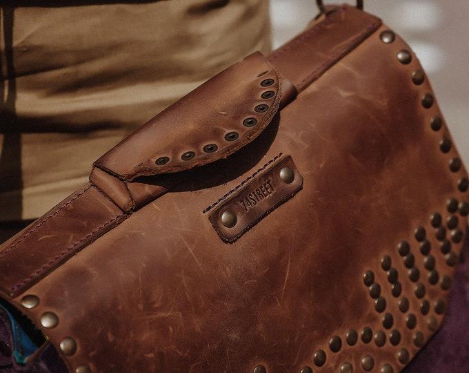 Messenger Bag, Woman briefcase, Purple Genuine leather bag, Eyelets Leather Bag, Crossbody Bag, LIFETIME BAG