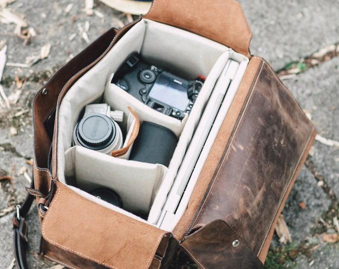 Camera Bag, Luxury Two cameras Photographer  hedgehog fasten Self Compartmenting Bag, Camera Bag, Photographer 15 inch bag, Canon Mark