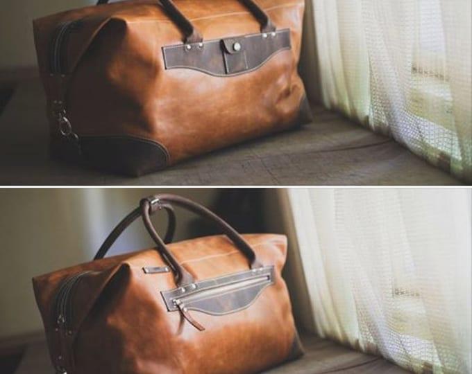 74street Camel Travel Bag,Handmade Travel Bag,Business travel Bag,Par avion leather bag, Full Grain Leather, FREE SHIPPING