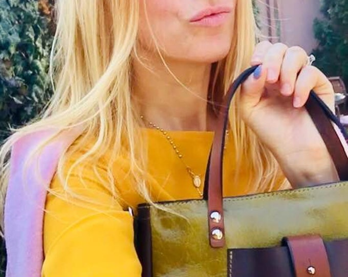 Medium British VOGUE December 2014 Green City bag, Bag for woman, office bag, school bag, gift, FREE SHIPPING