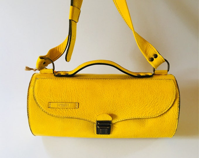 Yellow Bag, Yellow Leather Bag, Tubular Doctor bag, Cross Body Bag, Leather Bag, Handmade Leather Bag, Crossbody bag, FREE SHIPPING