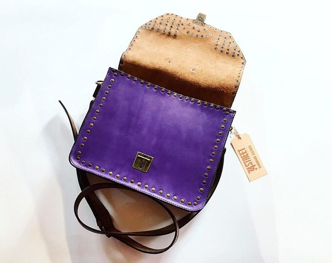 Messenger Bag, Woman briefcase, Purple Genuine leather bag, Eyelets Leather Bag, Crossbody Bag, FREE SHIPPING