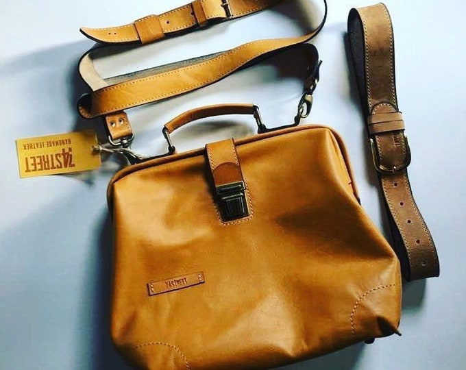 Luxury Leather Bag, Medical Bag, Leather Bags, Top Handle bag, Leather Doctor bag, Leather Bag, Framed Bag, Mary Poppins,  FREE SHIPPING