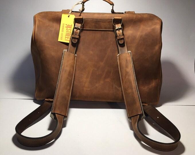 Leather Doctor bag, Leather Backpack, Metal framed Doctor Bag, Office Bag, Travel Bag, Weekender Bag, overnight Bag, Man Briefcase, Mary Pop