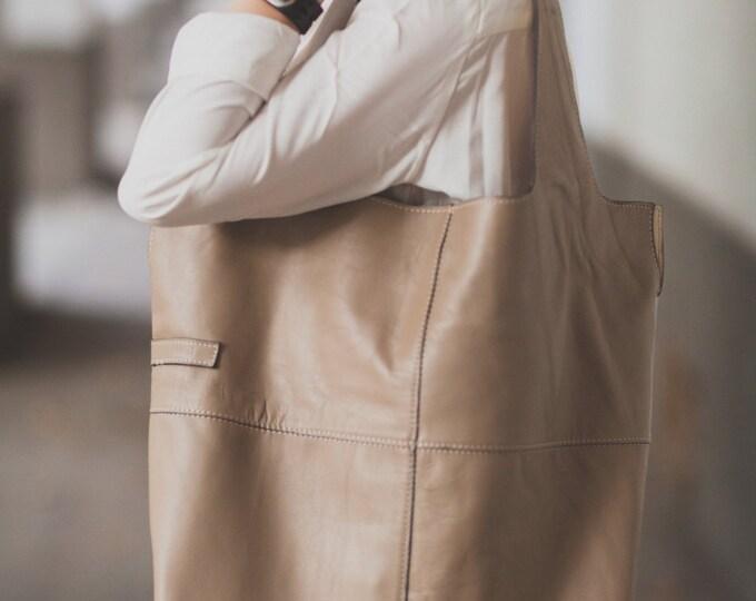 74street street bag, Champain Leather Tote Bag, Ivory Tote Leather Bag, Tote Leather Bag, Shoulder Bag, Handmade Bag, Woman, FREE SHIPPING