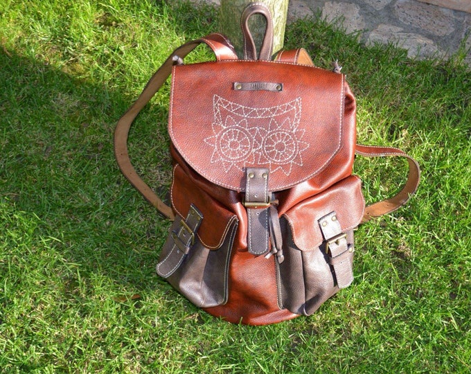 Leather Emroidred Backpack,Full Grain leather Back Pack, Owl Eboidred Leather Backpack, Travel Bag,Overnight Bag, School Bag