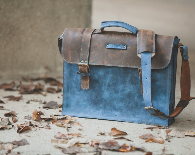 Laptop Leather Briefcase, Full Grain Blue Leather Bag, Leather Bag, blue Leather Briefcase, Bag for files, Leather Bag, FREE SHIPPING