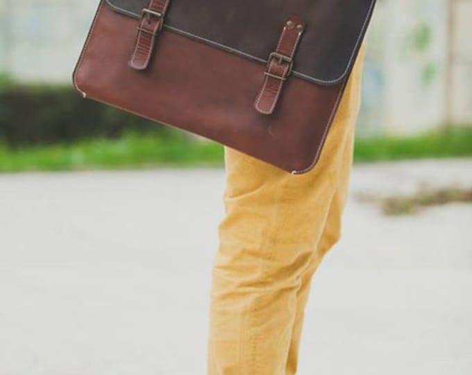 """15""""laptop Bag,Handmade Leather Bag,Men retro briefcase,Business Retro Bag,Minimal Retro Bag, FREE SHIPPING"""