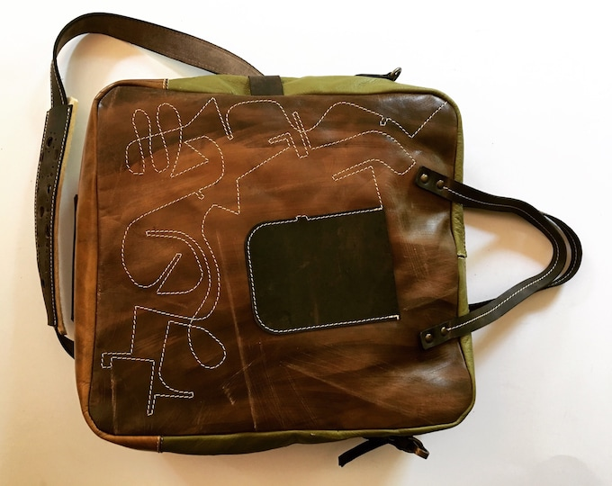 Leather Bag, Top handle tote bag, Halloween Camel Galileo Bag Green Version, 15 inch laptop bag, office bag, school bag, FREE SHIPPING