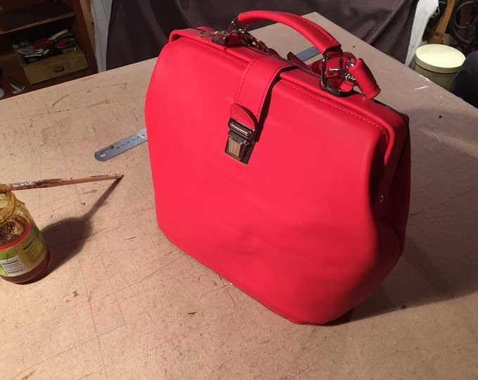 Top Handle Bag, leather Handbag, Leather Bag, Leather Purse, Woman Doctor Bac, red Doctor Bag,  Medical Bag, FREE SHIPPING