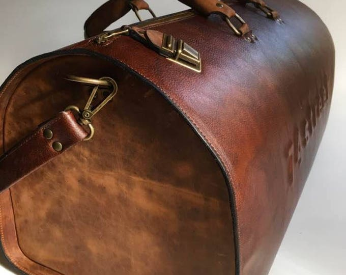 Duffel Bag, Rusty Brown Travel Bag, Sports Bag, Leather Weekender Bag, Leather Bag, Available in 3 different shades of brown, FREE SHIPPING