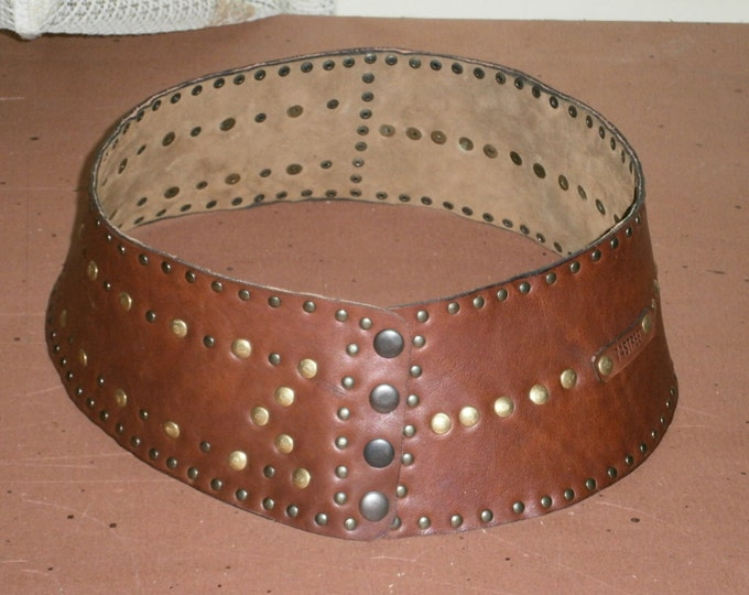Genuine leather Belt, Eyeleted Wide Belt, Handmade Belt, made to order wide Belt