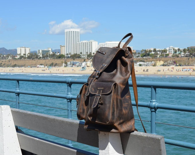 Large Backpack 46cm / 31cm/ 20cm Leather Backpack, BackPack,School BackPack,school rucksack, Handmade Man BackPack, FREE SHIPPING