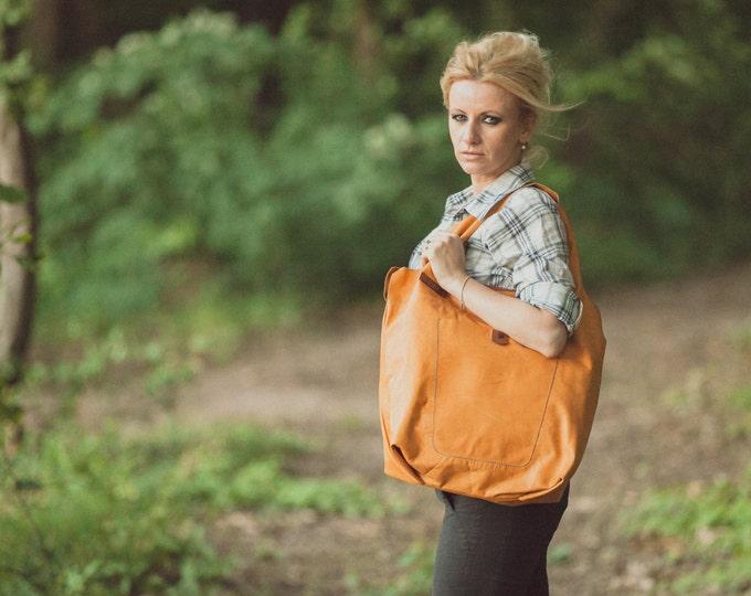 Hobo Bag, Caramel Leather Tote Bag, Caramel Tote Leather Bag, Tote Leather Bag, Shoulder Bag, Handmade Bag, Woman, FREE SHIPPING