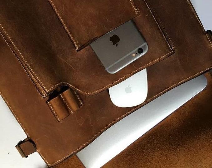 "15 "" Lucky Banduliera Laptop Messenger Bag, Biker's Bag, 4-way-to-wear Handmade bag, Messenger to Banduliera, Leather Man Bag"