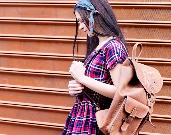 Leather Emroidred Backpack,Full Grain leather Back Pack, Owl Eboidred Leather Backpack, Travel Bag, Overnight Bag, School Bag, LIFETIME BAG