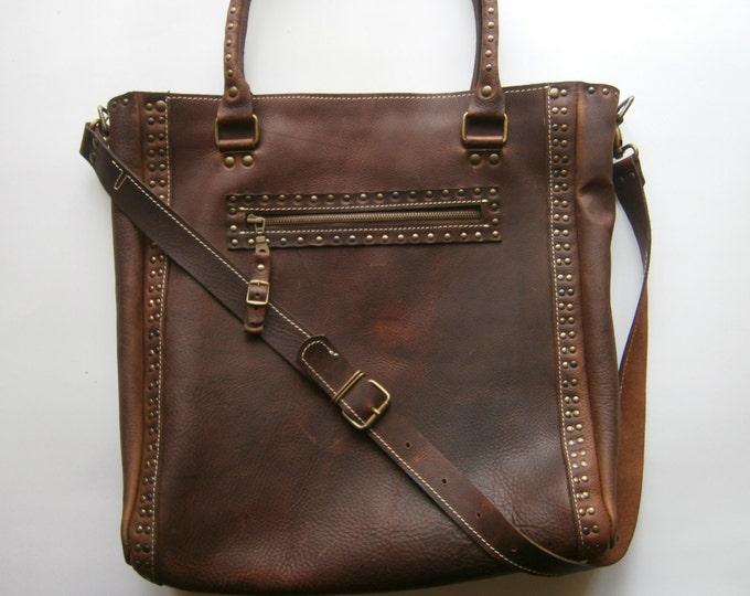 Brown Shoulder Bag,15 inch Laptop Bag,Tote Bag, Full Grain leather Shoulder Bag, Custom order Office Bag, FREE SHIPPING