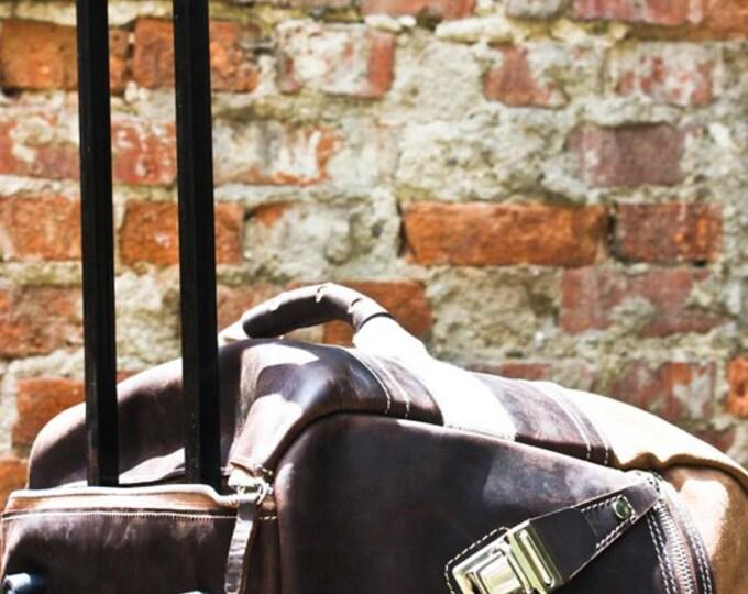 74street Trolley Bag, Genuine leather trolleyTravel Bag, Par-avion trolley, Handmade trolley, rolling luggage, customizable, FREE SHIPPING