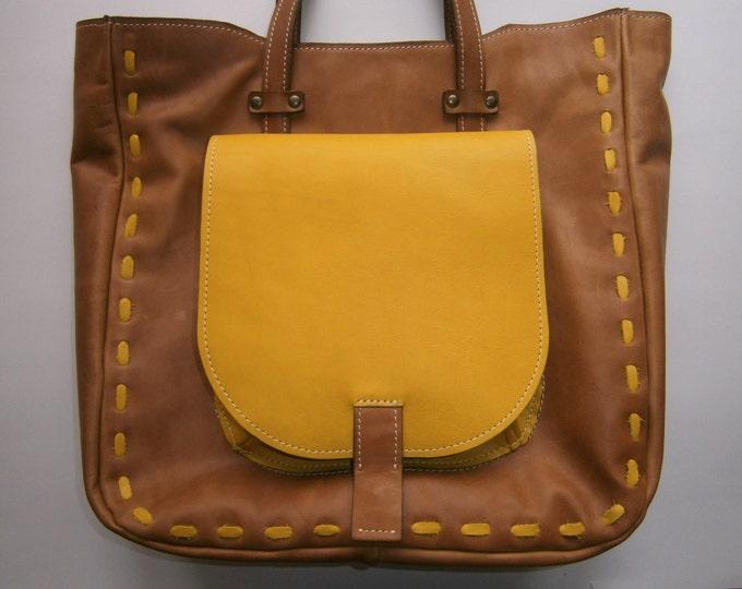 Shoulder Bag, Genuine Leather Shoulder Bag, Office Brown Bag, School Bag, Tote Bag, Gift for her Laptop Bag, Handmade Bag, FREE SHIPPING
