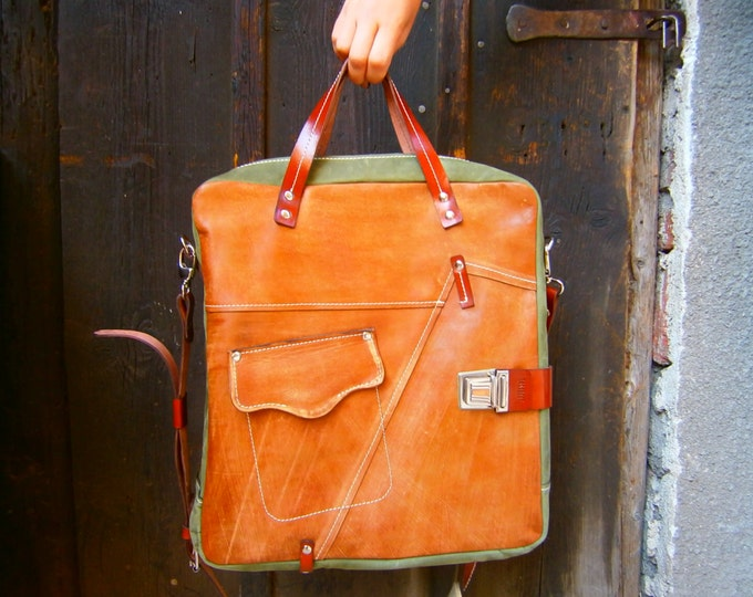 Leather Bag, Top handle tote bag, Halloween Camel Galileo Bag Green Version, 15 inch laptop bag, office bag, school bag,