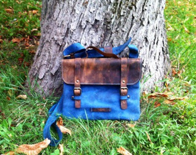 Leather Blue Messenger Bag, Blue little briefcase,  Office Bag, Shoulder bag, Tote Bag, Leather Pouch, Brown Leather Bag, FREE SHIPPING