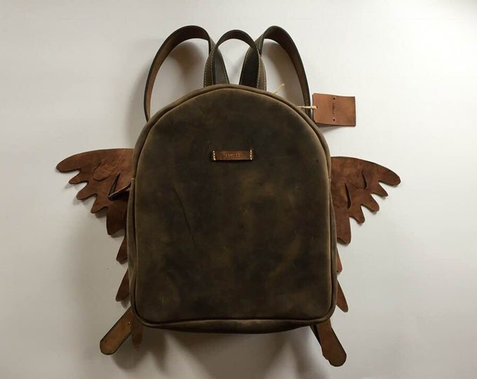 Wings Leather BackPack, School BackPack, Travel BackPack, Handmade BackPack, Overnight BackPack, Travel Bag, Dragon Backpack, FREE SHIPPING