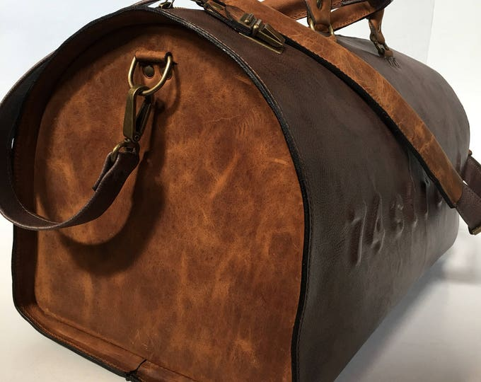 USA post box Duffel Bag, Rusty Brown Travel Bag, Sports Bag, Leather Weekender Bag, Leather Bag