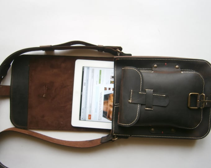 IPad Leather bag, Student's bag, Man Bag, Gift for him, Handmade Bag, City Bag, FREE SHIPPING