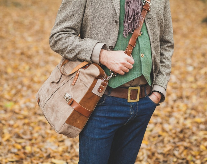 Brushed Leather Messenger Bag, Leather Vertical Laptop Bag, Unisex Leather Bag, Zippered Leather Bag, Man Leather Bag, FREE SHIPPING
