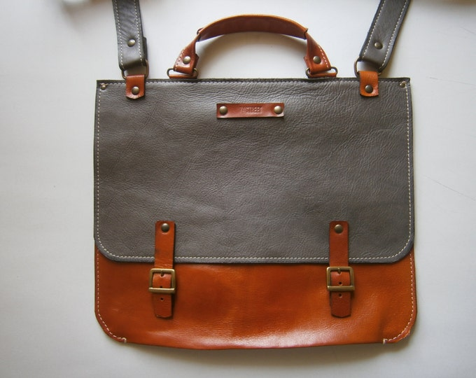 "Full Grain Leather Briefcase, Messenger Bag, 13""laptop Bag, Handmade Leather Bag,Men's retro satchel bag, student bag, LIFETIME BAG"