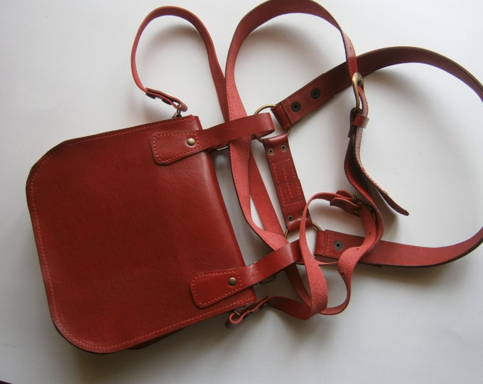 Red Lalibela's Double Betled HipBag , Crossbody bag, Hip Bag, Belt Bag, Handmade Genuine Leather Hipbag, Made to order, FREE SHIPPING