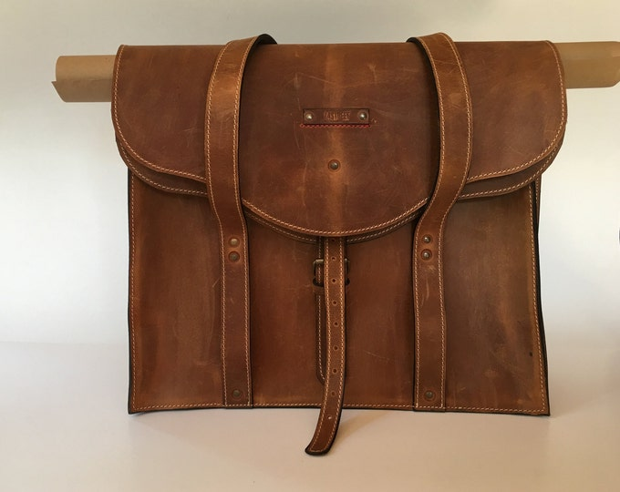 Landscape Designer Large XXL Bag, Handmade Full Grain Leather Shoulder Bag, Projects Briefcase,
