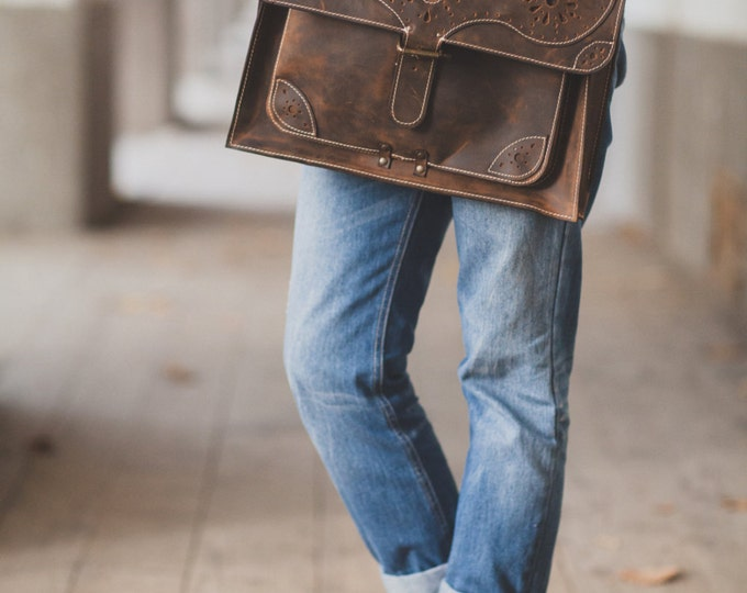 17inch Leather Briefcase, Handmade Genuine Leather Bag, Laptop leather bag, 17 inches laptop briefcase, laptop bag, FREE SHIPPING