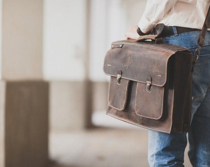 15 inches Mr.JohnesLeather Briefcase, Leather Briefcase, Genuine Leather Messenger Bag, Office Bag, Man Laptop Bag, Business Bag, CEO Bag