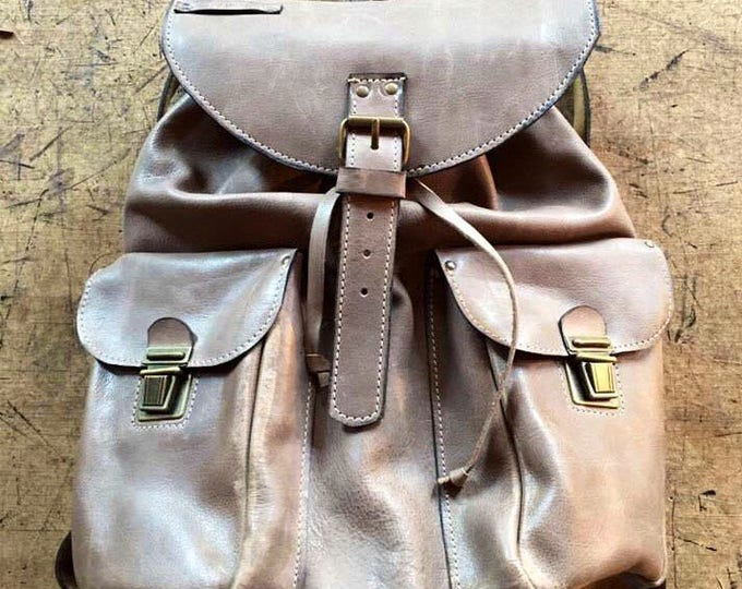 Brown-Taupe Leather BackPack, School BackPack, Travel BackPack, Handmade BackPack,  Man Overnight BackPack, Travel Bag