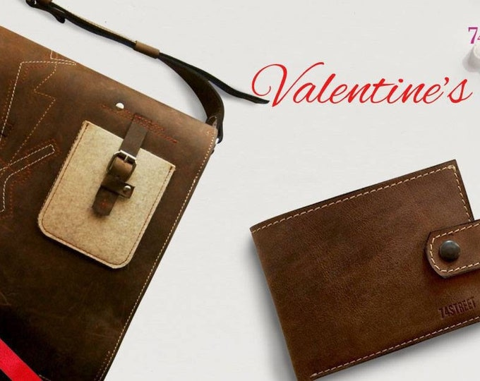 Valentine's Day Gift Set for HIM: Vertical Leather Laptop Messenger bag and Leather Wallet, FREE SHIPPING