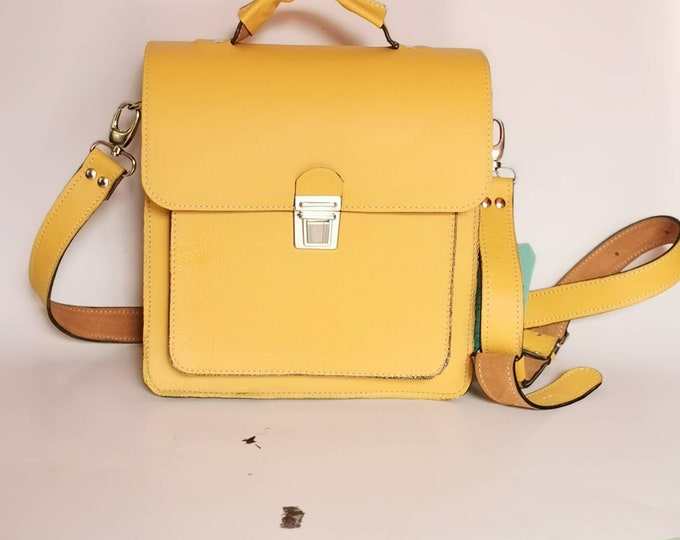 YELLOW Luxury Complicated Doctor Bag, Feng-Shui Leather Briefcase, Handbag, Handle Bag, FREE SHIPPING