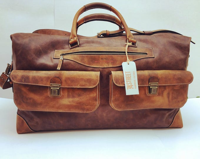 Travel Bag,  62cmx34cmx32cm Large Handmade Travel Bag, Business travel Bag, Leather Office Custom size travel bag, Luggage