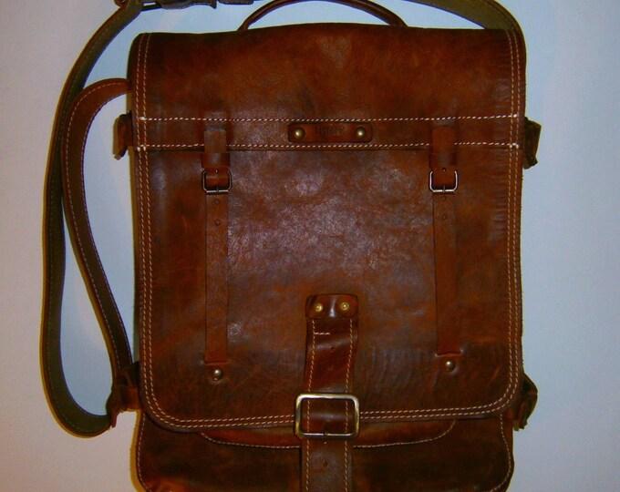 Laptop Vertical Briefcase, Vintage leather Handmade bag, Messenger Bag, Made to order Bag, Made to order Briefcase, FREE SHIPPING