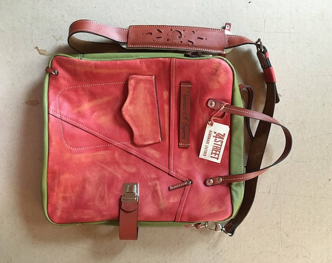 Leather Bag, Top handle tote bag, Halloween Camel Galileo Bag Green Version, 15 inch laptop bag, office bag, school bag
