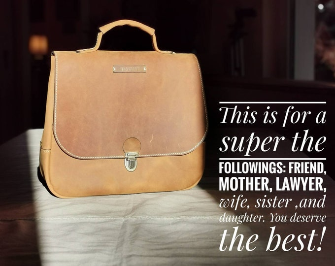 Convertible 3 way to carry Retro Crazy Hors Leather Backpack, Full Grain leather Back Pack,  Backpack, Top Handle Bag, LIFETIME BAG