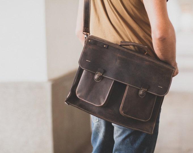 15 inch laptop bag, Mr.Jones's Rusty Briefcase, Leather Briefcase, Genuine Leather Messenger Bag, Office Bag, Man  Laptop Bag, FREE SHIPPING