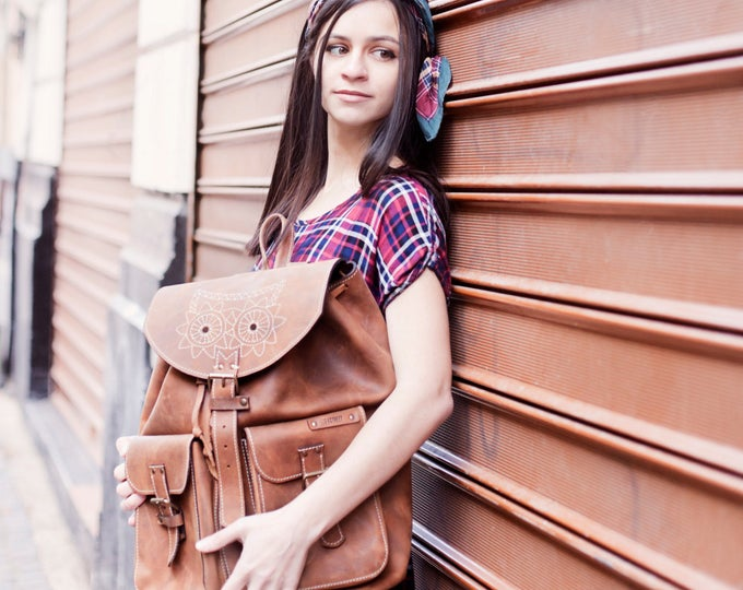 Leather Emroidred Backpack,Full Grain leather Back Pack, Owl Eboidred Leather Backpack, Travel Bag, Overnight Bag, School Bag