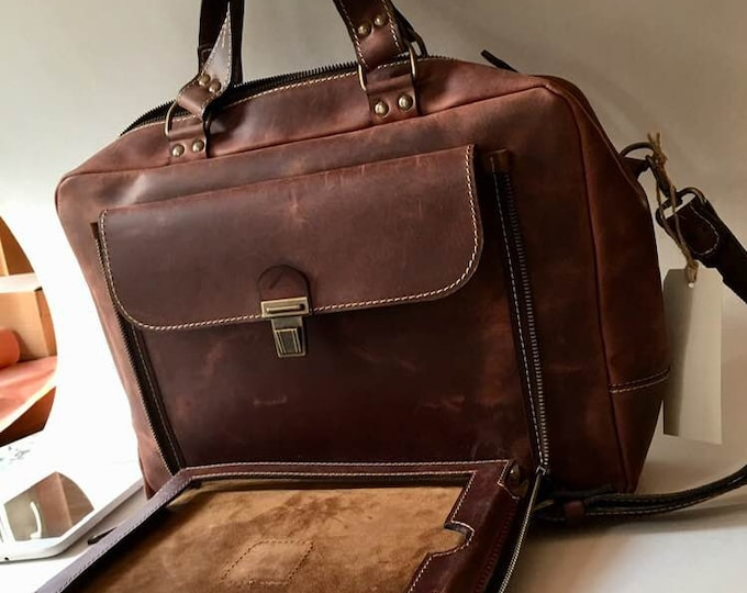13 inches Organiser Convertible Leather Backpack, Briefcase, Backpack and Messenger Bag all in one, Laptop and iPad, FREE SHIPPING