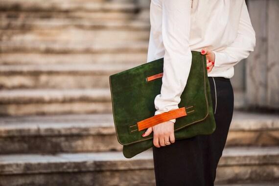 Green leather oversized clutch, Sarah Green Grass and Orange Leather Day Clutch, Oversized Green and orange clutch, versatile