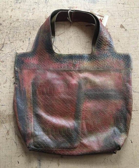 74street street bag, Two Faces Leather Tote Bag, Croco Golden Tote Leather Bag, Tote Leather Bag, Shoulder Bag, Handmade Bag