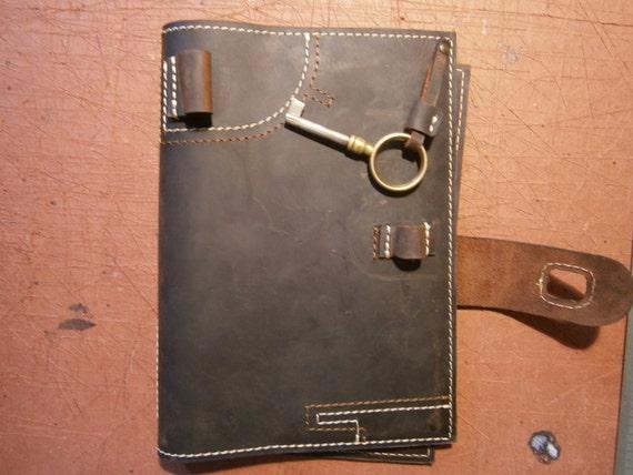 Refillable Leather Bound, Agenda Case, Notebook case, Book case, Handmade Leather Agenda, Custom order leather Agenda, Gotic
