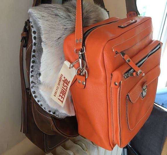 Orange Leather Bag, Full grain Bag, Overnight bag, Weekender Bag