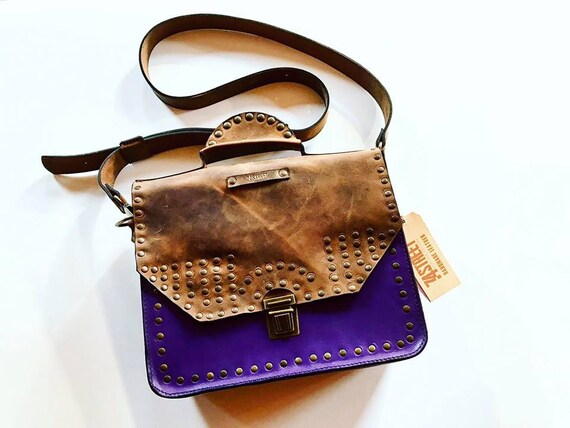 Messenger Bag, Woman briefcase, Purple Genuine leather bag, Eyelets Leather Bag, Crossbody Bag,
